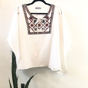 Boho embroidered summer top